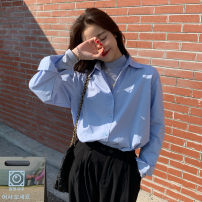 shirt Blue white S M L XL Spring 2021 other 96% and above Long sleeves Versatile Regular Polo collar Single row multi button routine Solid color 18-24 years old Straight cylinder Shafenya Other 100% Pure e-commerce (online only)