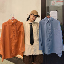 Women's large Spring 2020 Large M (suitable for 80-125 kg) large L (suitable for 125-150 kg) Large XL (suitable for 150-175 kg) large XXL (suitable for 175-200 kg) shirt singleton  commute easy moderate Socket Long sleeves Solid color Polo collar routine routine Han Luxian 18-24 years old Button