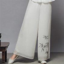 Casual pants White, black S,M,L,XL,2XL Ninth pants Wide leg pants High waist printing and dyeing