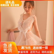 Nightdress Other / other Black [nightdress + T pants], white [nightdress + T pants] Average size [80-120 Jin] luxurious Sleeveless pajamas Short skirt autumn Solid color youth V-neck Polyester (polyester) Lotus leaf edge More than 95% Lace fabric 200g and below