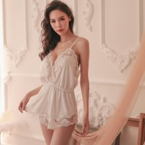Nightdress Other / other white Average size sexy camisole pajamas UltraShort  Solid color youth V-neck lace polyester fiber 200g and below