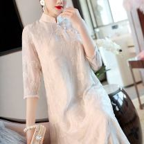 cheongsam Summer 2021 S M L XL white three quarter sleeve long cheongsam grace No slits daily Oblique lapel Solid color 25-35 years old Embroidery W26Q32107 Light and gentle Cellulose acetate Acetate fiber (acetate fiber) 80% Lyocell fiber (Lyocell) 20% Pure e-commerce (online only)