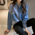 shirt Dark blue light blue XXL S M L XL Spring 2020 other 96% and above Long sleeves commute Regular Polo collar Single row multi button routine stripe 18-24 years old Straight cylinder Still beautiful Korean version Other 100% Pure e-commerce (online only)