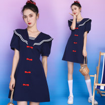 Dress Summer 2020 Navy Blue (front and back) red check S M L XL 2XL Short skirt other Short sleeve commute other Solid color other other other 18-24 years old Leisurely ring literature 8286_ 0mf1l More than 95% other other Other 100%