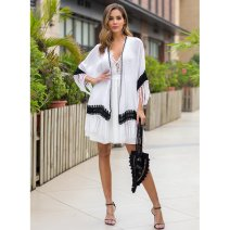 shirt white Average size Spring 2020 other 96% and above three quarter sleeve other Short style (40cm < length ≤ 50cm) other routine Solid color 25-29 years old Leisurely ring P3017_ S5WhG Fringes cut-out and crochet cut-out splicing Other 100%