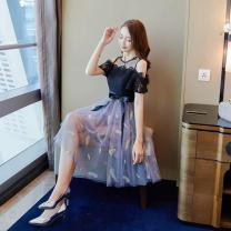 Dress Summer 2020 Black, blue, gray, pink S size: [recommended 75-95 kg], M size: [recommended 95-110 kg], L size: [recommended 110-120 kg], XL SIZE: [recommended 120-130 kg], XXL size: [recommended 130-145 kg] Short skirt singleton  Short sleeve commute Crew neck High waist zipper A-line skirt other