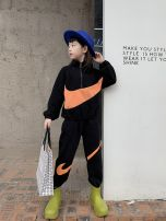 suit Netnike tide 120cm(120cm),130cm(130cm),140cm(140cm),150cm(150cm),160cm(160cm),170cm(170cm) female spring and autumn Korean version Long sleeve + pants 2 pieces routine There are models in the real shooting Socket nothing Solid color cotton children Travel Class B Cotton 90% polyester 10%
