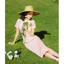 cheongsam Spring 2020 S M L XL 2XL 3XL [shell powder 0025-by] eight button retro check Short sleeve long cheongsam Retro High slit daily Oblique lapel lattice 18-25 years old TF20028 Tangfei other Other 100% Pure e-commerce (online only)