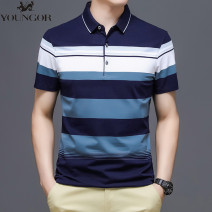 T-shirt Business gentleman Blue, red thin 165/80A,170/84A,175/88A,180/92A,185/96A,190/100A Youngor Short sleeve Lapel Super slim business affairs summer middle age routine Business Casual Cotton wool 2021 stripe Embroidered logo cotton 3D effect No iron treatment Domestic famous brands