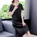 Middle aged and old women's wear Summer 2021 Black-9531 L XL 2XL 3XL 4XL commute Dress easy singleton  Solid color 40-49 years old Socket Crew neck routine ARYG-9531 Xirusa pocket silk Mulberry silk 30% others 70% 30% and below Pure e-commerce (online only) Medium length Simplicity