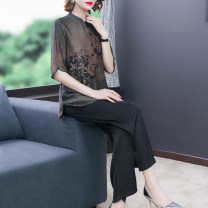 Middle aged and old women's wear Summer 2021 L XL 2XL 3XL 4XL commute suit easy Two piece set Decor 50-59 years old Socket thin stand collar routine routine Xirusa Button silk Mulberry silk 30% others 70% 30% and below Pure e-commerce (online only) Single breasted trousers Korean version