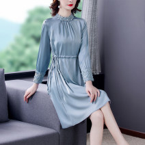 Dress Spring 2021 Apricot-6686 blue-6686 black-6686 leather powder-6866 silver green-6686 S M L XL 2XL 3XL Mid length dress singleton  Long sleeves commute stand collar middle-waisted Solid color Socket A-line skirt routine Others 40-49 years old Type A Xirusa Korean version Frenulum KMLSPD-6686