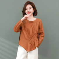 T-shirt Brown apricot M L XL 2XL 3XL Summer 2021 Long sleeves Crew neck easy Regular routine commute hemp 96% and above 40-49 years old Korean version literature Solid color Xirusa CZ4445 Splicing Flax 100% Pure e-commerce (online only)