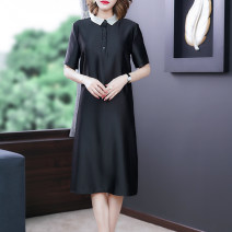 Dress Summer 2021 Black-3050 caramel-3050 L XL 2XL 3XL 4XL Middle-skirt singleton  Short sleeve commute Polo collar Loose waist Solid color Socket A-line skirt routine Others 40-49 years old Type H Xirusa Korean version Button LRYFS-3050 30% and below silk Mulberry silk 30% others 70%