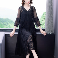 Dress Summer 2021 Black-1633 L XL 2XL 3XL 4XL longuette Two piece set three quarter sleeve commute Crew neck Loose waist Solid color Socket A-line skirt routine Others 40-49 years old Type A Xirusa Korean version Lace LRFS-1633 30% and below Lace silk Mulberry silk 30% others 70%