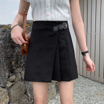 skirt Winter of 2019 S,M,L,XL,2XL,3XL,4XL Black (tweed), black (suit), black (suit), black (woollen) Short skirt Versatile High waist Pleated skirt Solid color Type A 18-24 years old 71% (inclusive) - 80% (inclusive) other other Fold, asymmetry, zipper, leather buckle