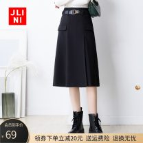 skirt Winter 2020 M L XL 2XL 3XL black Mid length dress commute High waist A-line skirt Solid color Type A 25-29 years old JN20AT1499 Wool JLINI zipper Korean version Pure e-commerce (online only)