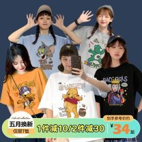 T-shirt S M L XL XXL Spring 2021 Short sleeve Crew neck easy Regular routine street cotton 96% and above 18-24 years old originality Cartoon animation printing Cotton 100% Pure e-commerce (online only) Europe and America