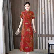 Dress Summer 2021 gules L XL 2XL 3XL 4XL longuette singleton  Short sleeve commute stand collar High waist Decor Socket A-line skirt routine Others 35-39 years old Type A Yihuanling ethnic style printing YHLNRJ-E53-A-1811P70 More than 95% other other Other 100% Pure e-commerce (online only)