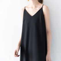 Dress Summer 2020 black S M L XL 2XL 3XL 4XL 5XL longuette singleton  Sleeveless commute V-neck Solid color Socket other camisole 18-24 years old Jing Xiangqi Simplicity More than 95% Chiffon polyester fiber Polyester 100% Pure e-commerce (online only)