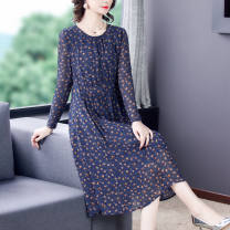 Women's large Spring 2021 Decor M L XL 2XL 3XL Dress singleton  commute Self cultivation moderate Socket Long sleeves Dot Simplicity Crew neck routine JSMFx33U Ji Simo 35-39 years old longuette Other 100% Pure e-commerce (online only)