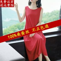 Dress Summer 2021 Red, black, green S,M,L,XL,2XL,3XL,4XL longuette singleton  Sleeveless commute Crew neck Loose waist Solid color Socket A-line skirt routine camisole Type A Simplicity Resin fixation 91% (inclusive) - 95% (inclusive) silk