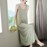 Dress Summer 2020 Black, white, blue, green, pink M,L,XL,2XL,3XL longuette singleton  Sleeveless commute Crew neck Loose waist Solid color Socket Big swing straps Type A Korean version 31% (inclusive) - 50% (inclusive) Crepe de Chine silk