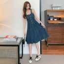 Dress Summer 2021 blue S M L XL Short skirt singleton  Sleeveless commute Solid color camisole 18-24 years old Emperor's paradise Korean version More than 95% Denim other Other 100% Pure e-commerce (online only)