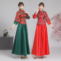 Dress / evening wear Wedding, adulthood, party, company annual meeting, routine, date XXL, XXXL, s, m, l, XL, 4XL, increase 5XL customized Big sleeves of green Pisces and red pipa Retro longuette High waist Autumn of 2019 other stand collar zipper Brocade 18-25 years old Wedding dress Embroidery