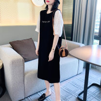 Dress Summer 2020 black S M L XL Mid length dress singleton  Short sleeve street Crew neck Loose waist other other routine Others 30-34 years old Zimo you More than 95% other Other 100% Europe and America