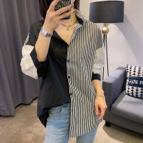 shirt Color matching S M L Spring 2021 cotton 96% and above Long sleeves street Regular V-neck Single row multi button routine stripe 30-34 years old Straight cylinder Zimo you BD201v40483p Cotton 100% Pure e-commerce (online only) Europe and America