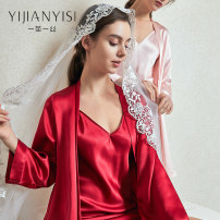 Nightgown / bathrobe A cocoon of silk female M L XL Red, pink, light apricot routine Simplicity silk summer More than 95% Short (Mid Thigh to knee) silk Solid color youth one million two hundred and seven thousand and two 200g and below Spring 2021 Mulberry silk 100% Pure e-commerce (online only)