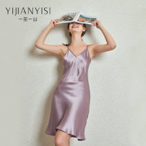 Nightdress A cocoon of silk Grayish purple 19mm lotus root 19mm light apricot 19mm pink complexion 19mm grayish blue 19mm grayish green 19mm white 19mm black 19mm red 19mm 155(S) 160(M) 165(L) 170(XL) Simplicity camisole Leisure home Middle-skirt summer Solid color youth V-neck silk More than 95% no