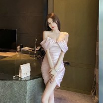 Dress Spring 2021 White, pink S,M,L Short skirt singleton  Long sleeves commute V-neck High waist Solid color Socket One pace skirt routine Breast wrapping 25-29 years old Type A Button, fold 51% (inclusive) - 70% (inclusive) other cotton