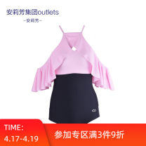 one piece  An Lifang M L XL Triangle one piece swimsuit With chest pad without steel support Summer 2020 yes female Sleeveless Casual swimsuit