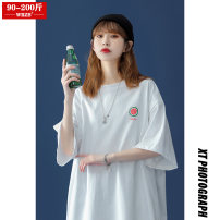 Women's large Summer 2021 White green orange M (90-120 kg) l (125-145 kg) XL (150-170 kg) 2XL (170-200 kg) T-shirt singleton  street easy moderate Socket Short sleeve Solid color Crew neck routine cotton Three dimensional cutting routine WRZB-202103029016 wrzb 18-24 years old 96% and above neutral
