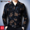 shirt Business gentleman Men's tiakon / men's sky 165/M 170/L 175/XL 180/XXL 185/XXXL 190/XXXXL Thin money square neck Long sleeves standard daily autumn F1650D middle age Polyester 97% polyurethane elastic fiber (spandex) 3% Business Casual 2019 Plants and flowers Color woven fabric Summer of 2019