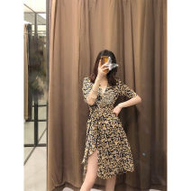 Women's large Spring 2021 Floral Dress S M L XL Dress singleton  commute easy moderate Socket Long sleeves Broken flowers Korean version V-neck Medium length polyester fiber Three dimensional cutting routine M407 Mu zhiou 18-24 years old longuette Other 100% Pure e-commerce (online only) zipper