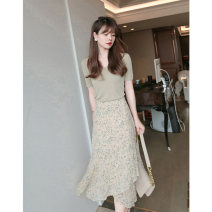 Fashion suit Summer 2021 S M L XL Grey bean green top + floral skirt 18-25 years old Mu zhiou M535 Other 100% Pure e-commerce (online only)