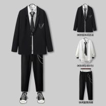 man 's suit Others Fashion City routine S,M,L,XL,2XL Polyester 100% easy Double breasted Travel? No slits teenagers Long sleeves spring routine Exquisite Korean style Casual clothes Straight hem Solid color Regular collar (collar width 7-9cm) Polyester viscose Side seam pocket No iron treatment other