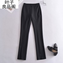 Casual pants black L,M,S,XS Spring 2021 trousers Straight pants High waist commute routine 30-34 years old 30% and below Other / other other belt polyester fiber