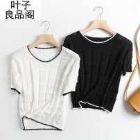 T-shirt White, black L, M Summer 2021 Short sleeve Crew neck easy have cash less than that is registered in the accounts other Sweet other 30% and below 30-34 years old Solid color Other / other Splicing, hollowing out, collage / splicing, fresh and sweet