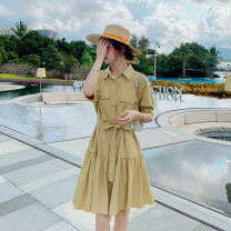 Dress Summer 2020 yellow S M L XL Mid length dress singleton  Short sleeve commute Polo collar High waist Solid color Single breasted other routine Others 18-24 years old Fengwu Korean version Bow pocket tie B234-2069 More than 95% other Other 100% Pure e-commerce (online only)