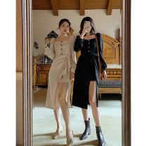 Women's large Autumn 2020 Apricot black S M L Dress Socket Long sleeves CN1 Ge Na Qi Medium length Other 100%
