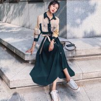 Dress Autumn 2020 Picture color S M L XL longuette singleton  Long sleeves commute Polo collar High waist Solid color Single breasted A-line skirt routine Others 18-24 years old Neon fog Korean version Button More than 95% other Other 100% Pure e-commerce (online only)