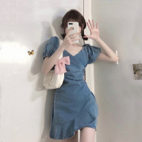 Women's large Spring 2021 Picture color Average size Dress singleton  commute Socket Short sleeve Solid color Korean version V-neck other puff sleeve H2426 Esname / yushman 18-24 years old Short skirt Other 100% Pure e-commerce (online only)