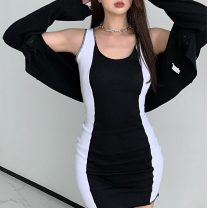 Lace / Chiffon Summer 2021 Black and white stitching S M L Sleeveless commute singleton  Super short 18-24 years old Yi Kaili Korean version 30% and below Other 100% Pure e-commerce (online only)