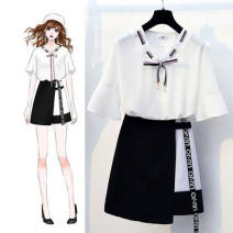 Dress Summer 2020 White top + skirt S,M,L,XL,2XL Short skirt Two piece set Short sleeve commute V-neck High waist Solid color Socket A-line skirt routine 18-24 years old Type A Other / other lady 81% (inclusive) - 90% (inclusive) Chiffon polyester fiber
