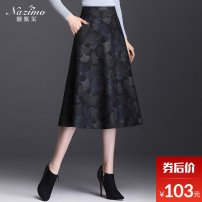skirt Winter of 2019 M L XL 2XL 3XL 4XL longuette commute High waist A-line skirt Decor Type A 25-29 years old zipper Pure e-commerce (online only)