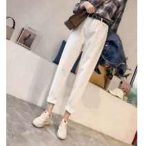 Jeans Summer 2020 XS S M L XL 2XL Ninth pants High waist Haren pants 18-24 years old Wash zipper button multiple pockets Cotton denim light colour Cotton 86% viscose (viscose) 14% Pure e-commerce (online only)